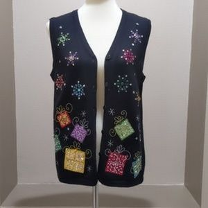 CDP & Co. Holiday Gift Studded Front Sweater Vest